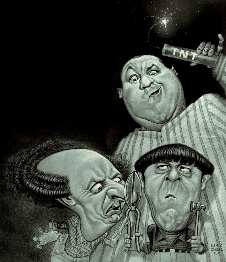 MARCELO MARCHESE Los Tres Chiflados - Lápiz y acrílico