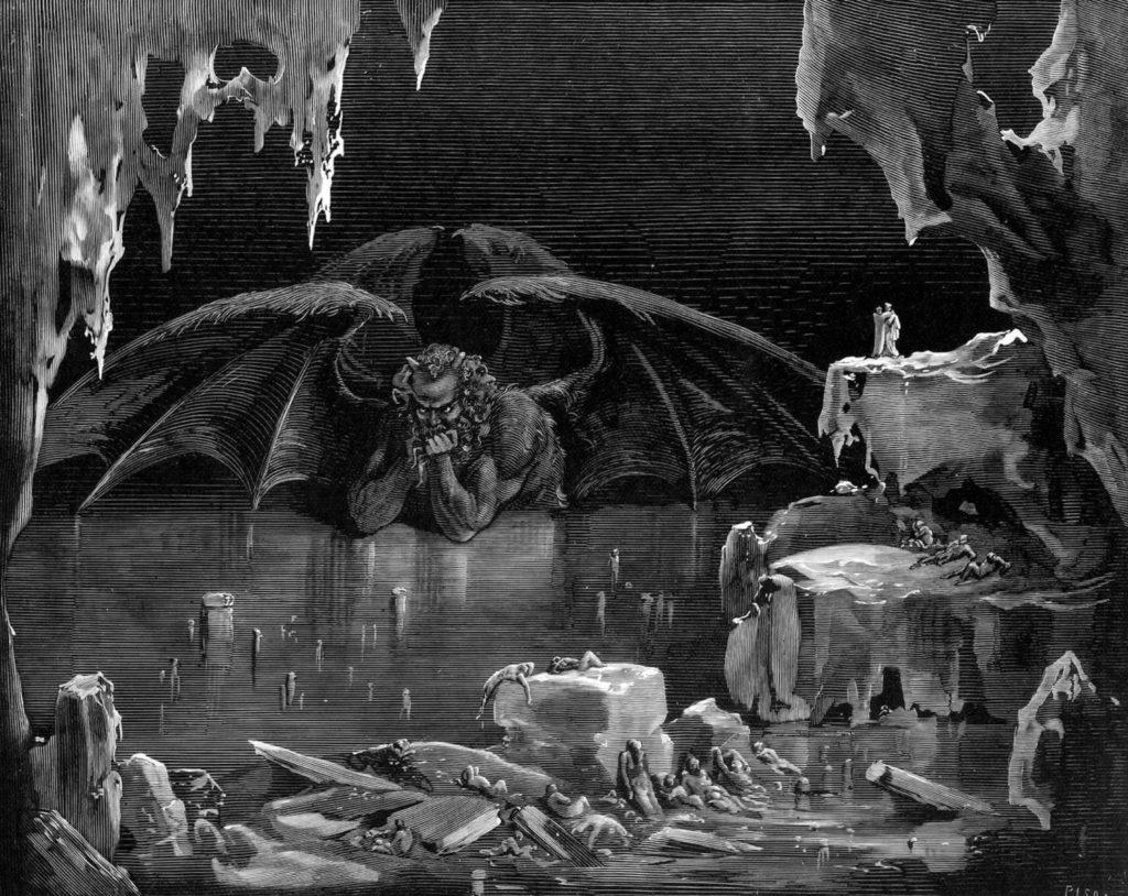 """Foto: """"Lucifer, Rey del Infierno"""" grabado por Gustave Doré que ilustra el Canto XXXIV de la Divina Comedia, Inferno."""