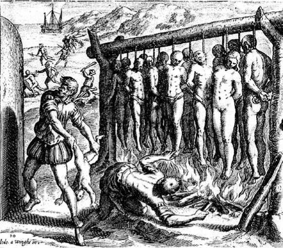De Bry, Ilustración de la Brevísima relación de la destrucción de las Indias de De las Casas
